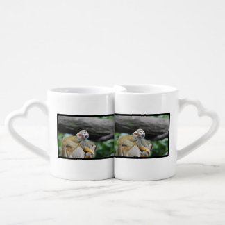 Adorable Baby Squirrel Monkey Couples' Coffee Mug Set