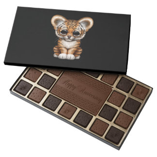 Adorable Baby Tiger Cub on Black Assorted Chocolates