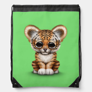 Adorable Baby Tiger Cub on Green Drawstring Backpack