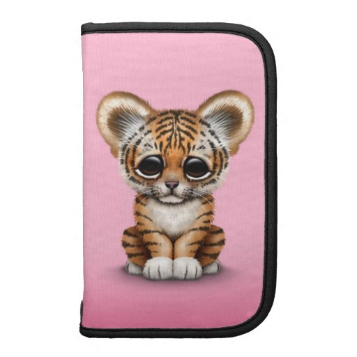 Adorable Baby Tiger Cub on Pink Folio Planner