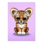 Adorable Baby Tiger Cub on Purple 3.5x5 Paper Invitation Card