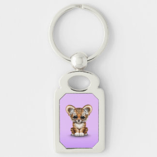 Adorable Baby Tiger Cub on Purple Silver-Colored Rectangular Metal Keychain