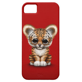 Adorable Baby Tiger Cub on Red iPhone SE/5/5s Case