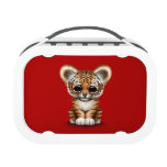 Adorable Baby Tiger Cub on Red Yubo Lunchboxes