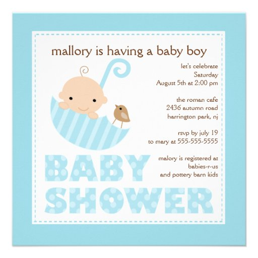 baby umbrella boy baby shower invitation square invitation
