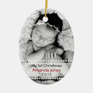 Adorable Babys First Christmas Ceramic Ornament
