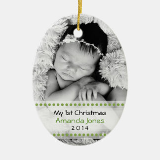 Adorable Babys First Christmas Double-Sided Oval Ceramic Christmas Ornament