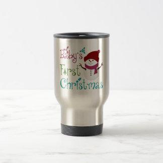 Adorable Babys First Christmas 15 Oz Stainless Steel Travel Mug