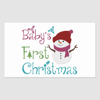 Adorable Babys First Christmas Rectangular Stickers