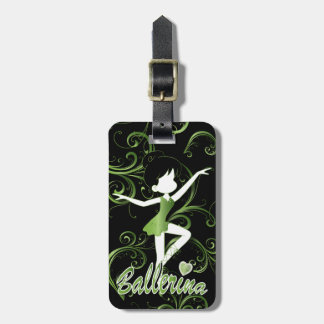 Adorable Ballerina Dancer | DIY Text | Lime Green Bag Tag