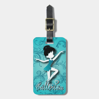 Adorable Ballerina Dancer | DIY Text | Turquoise Bag Tag