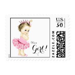 Adorable Ballerina Princess Tutu Baby Shower Postage