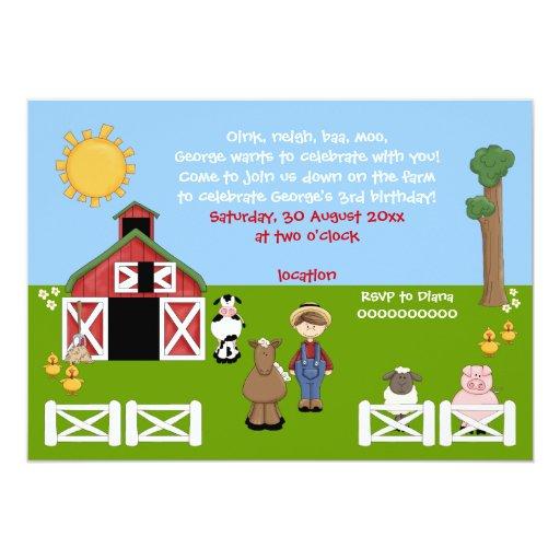 Adorable barnyard farm animal kids birthday card