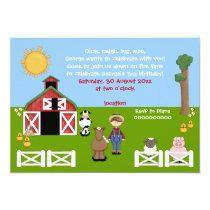 Adorable barnyard farm animal kids birthday invitation