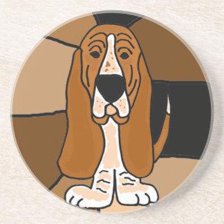 Adorable Basset Hound Dog Art Abstract Drink Coaster