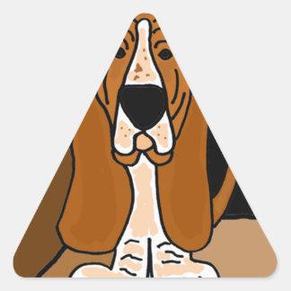 Adorable Basset Hound Dog Art Abstract Triangle Sticker