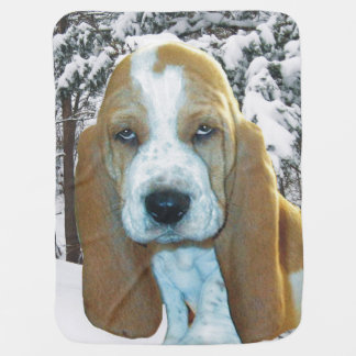 Adorable Basset Hound in Snowy Woods Baby Blanket