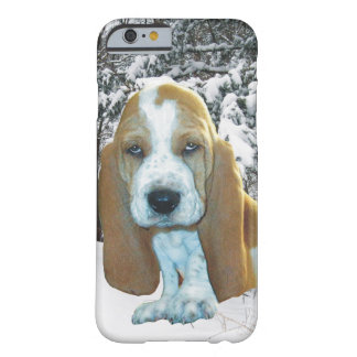 Adorable Basset Hound Puppy Snowy Woods Barely There iPhone 6 Case
