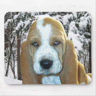 Adorable Basset Hound Puppy Snowy Woods Mousepad