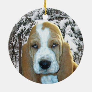 Adorable Basset Hound Puppy Snowy Woods Ornament