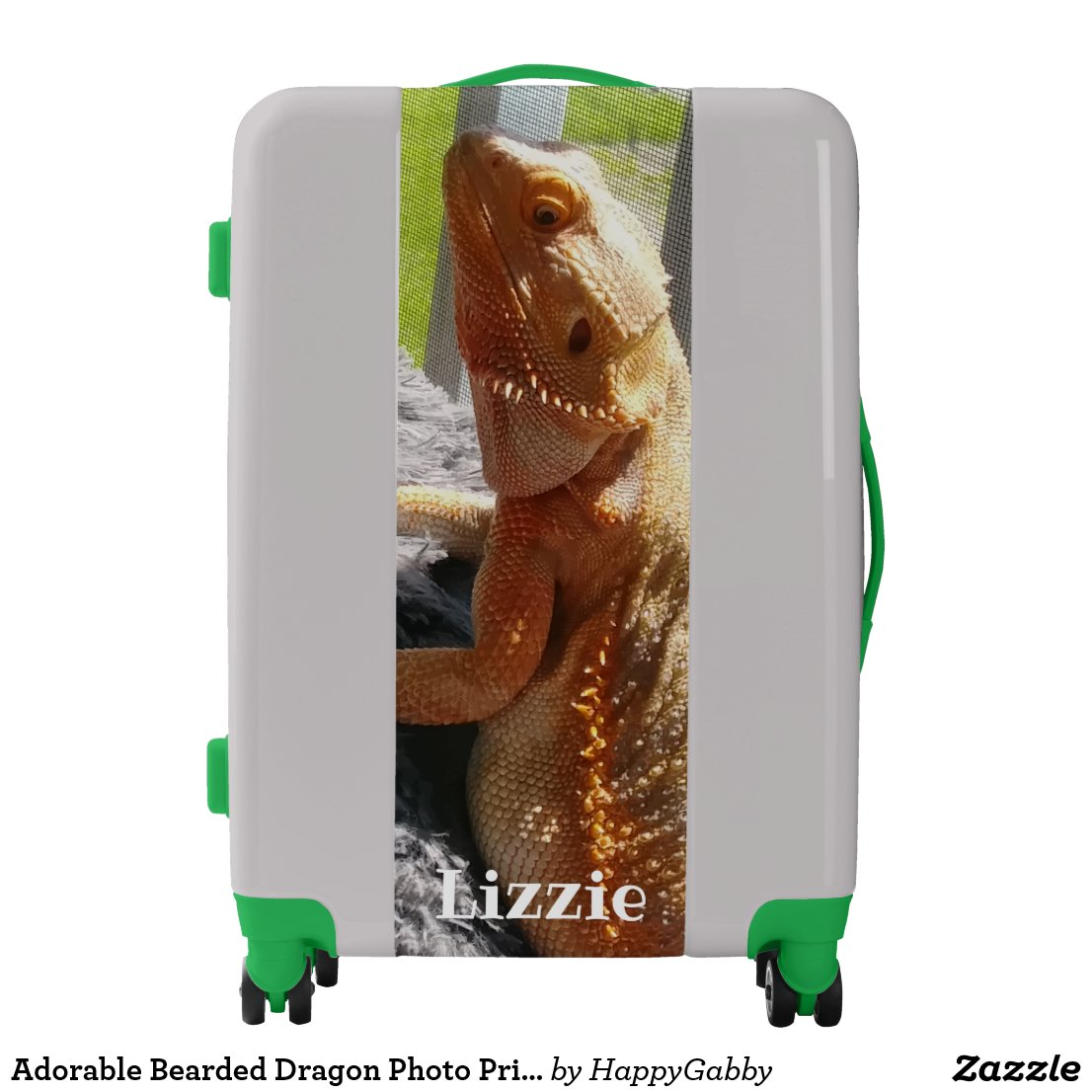 Adorable Bearded Dragon Photo Print Personalized Luggage