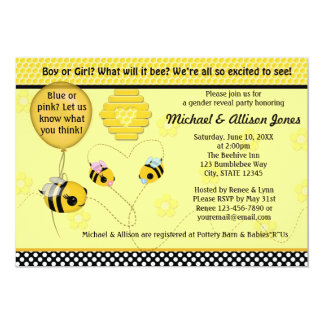 """Adorable BEE Gender Reveal Baby Shower Invitation 5"""" X 7"""" Invitation Card"""