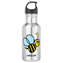 Adorable Bee Personalized Yellow Bumblebee Water Bottle