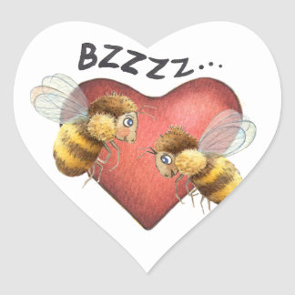 Adorable Bees and Heart Shape Heart Sticker
