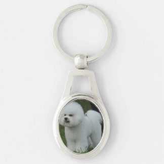 Adorable Bichon Silver-Colored Oval Metal Keychain