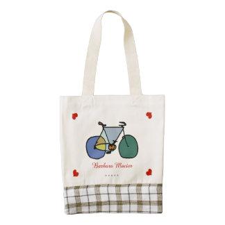 adorable bike/bicycle/biking personalized zazzle HEART tote bag