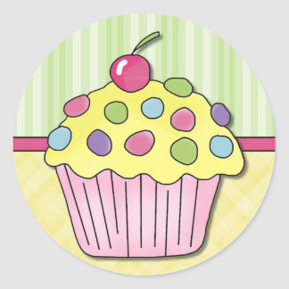 Adorable Birthday Cupcake Cards and Gifts Classic Round Sticker