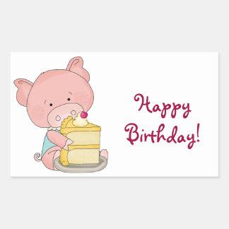 Adorable Birthday Pig Rectangular Sticker