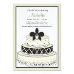 "Adorable Black and Ecru Wedding Cake Invitation 5"" X 7"" Invitation Card"