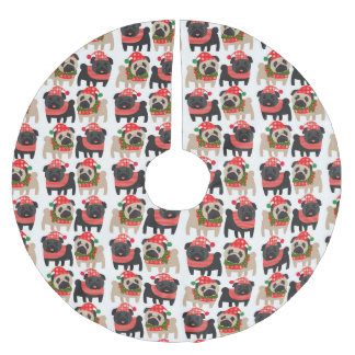 Adorable Black and Fawn Christmas Pugs Brushed Polyester Tree Skirt