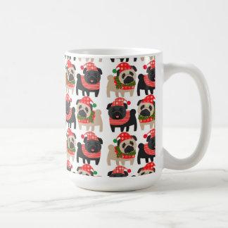 Adorable Black and Fawn Christmas Pugs Mugs