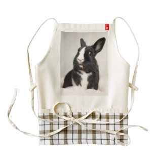 Adorable Black and White Bunny Rabbit Zazzle HEART Apron