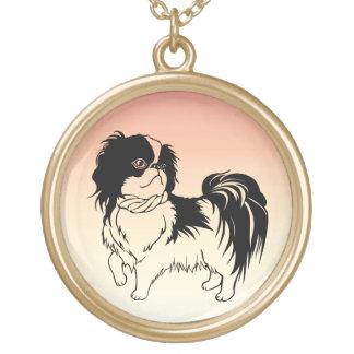 Adorable Black and White Dog Orange Necklace