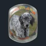 "Adorable Black and White English Setter Dog Glass Jar<br><div class=""desc"">Candy Jar</div>"