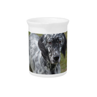 Adorable Black and White English Setter Drink Pitcher