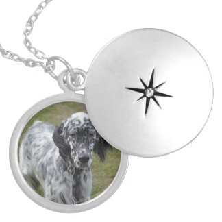 Adorable Black and White English Setter Locket Necklace