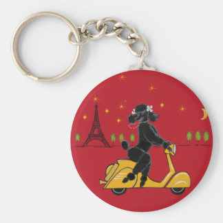 Adorable Black Poodle on a  in Paris Keychain