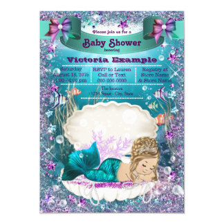 Adorable Blonde Mermaid Princess Baby Shower Card