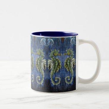 Coffee Themed Adorable Blue and Green Seahorse Coffee Mug