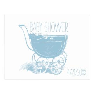 Adorable Blue Baby Boy Carriage Retro Baby Shower Postcard