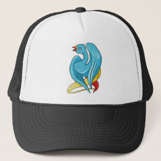 Adorable Blue Bird Long Neck Trucker Hat