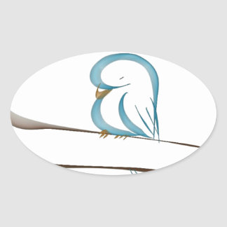 Adorable blue bird sitting on a branch oval sticker