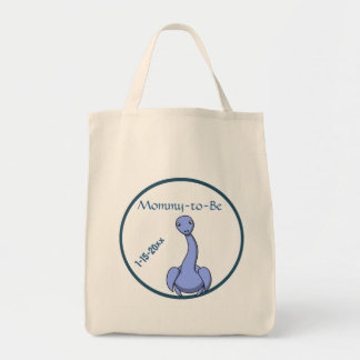 Adorable Blue Dinosaur Mommy To Be Baby Shower Tote Bag