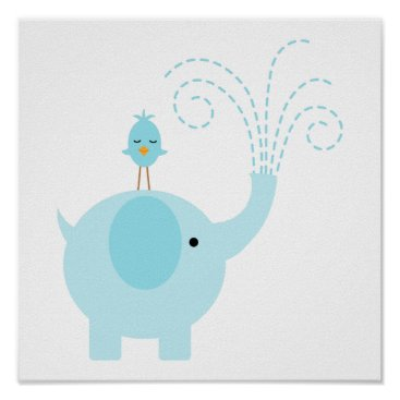 heartlocked Adorable Blue Elephant and Bird Poster