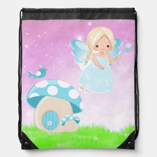 Adorable blue fairy drawstring bag