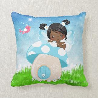 Adorable blue fairy throw pillow